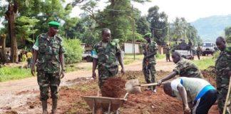 Rwandan peace keepers leading the way during umuganda in CAR last Saturday