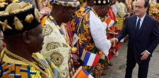 It is the French president's first visit to Ivory Coast's main city, Abidjan