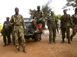 Soldiers from the South Sudanese army (SPLA)