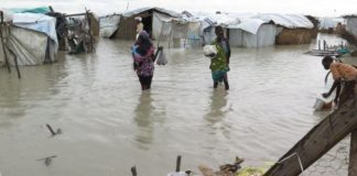 MSF says conditions in the camp were already difficult before the rain set in