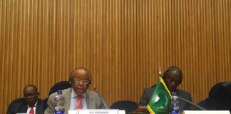 Festus Mogae addresses the AU Peace and Security Council meeting in Addis Ababa.