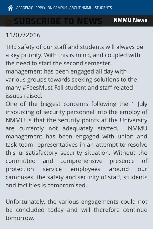 Students rioting at Nelson Mandela Metropolitan University - Image - CICA SA