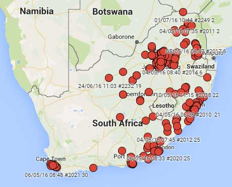 Protest-Map-for-South-Africa
