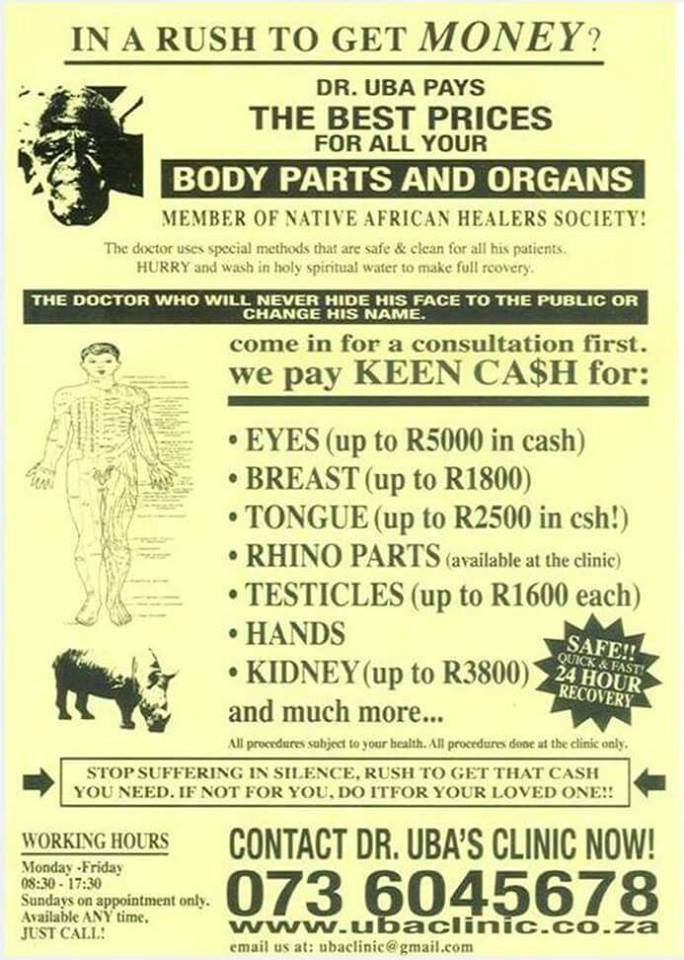 Shocking Muti Advert Handed Out In Fourways South Africa