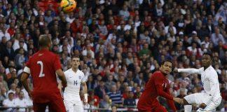 Daniel Sturridge scores the opening goal for England against Peru