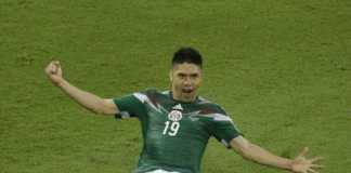 Oribe Peralta celebrates after scoring his goal in the match Mexico vs Cameroon. Mexico won 1-0.