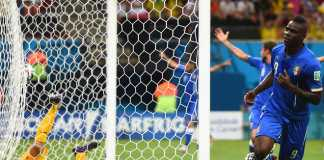Mario Balotelli scores the winning goal for Italy against England.