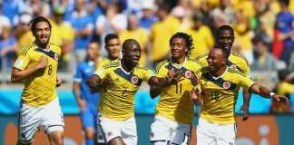 Pablo Armero opened the scoring for Colombia vs Greece in the 2014 Worldcup Brazi
