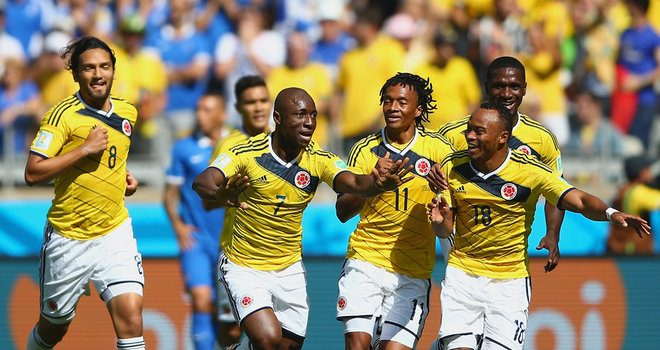 Pablo Armero opened the scoring for Colombia vs Greece in the 2014 Worldcup  Brazi 49bd5bbc0
