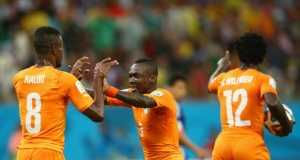 Wilfried Bony celebrates scoring against Japan for the Ivory Coast in the World Cup.
