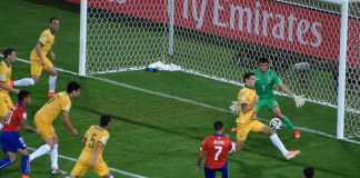 Alexis Sanchez slots a goal for Chile against Australia in the 2014 World Cup in Brazil.
