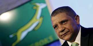 Allister Coetzee looks on after being unveiled as the South Africa Springboks' new rugby coach in Randburg, outside Johannesburg, April 12, 2016. REUTERS/Siphiwe Sibeko