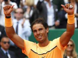 Tennis - Monte Carlo Masters - Monaco, 17/04/16. File photo of Rafael Nadal of Spain reacting after winning his final tennis match against Gael Monfils of France at the Monte Carlo Masters. REUTERS/Eric Gaillard