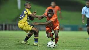 UJ player Ntsabaleng Katlego (right) will be aiming to add to his scoring tally when they take on Fort Hare in the Varsity Football tournament in Alice on Monday. Photo: Saspa