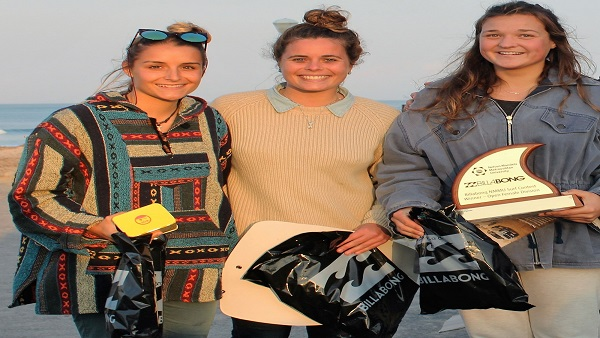 The top three surfers in the open women's section in the Billabong Madibaz surfing contest at Pipe in Summerstrand were, from left, Rebekah Anderson (third), Roxy Giles (second) and Britney Linder (first). Photo: Supplied