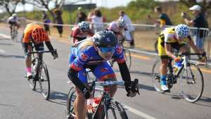 Charlene du Preez of Team Clover Prestigio powers her way to first place in the 103km Bestmed Cycle4Cansa Road Classic at Sun City on Sunday. Photo: The Citizen