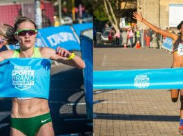 Seen here: Irvette van Zyl claiming gold in Johannesburg and Lebogang Phalula claiming gold in Cape Town. Photo Credit: Tobias Ginsberg and Mark Sampson