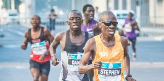Seen here: South Africa's Stephen Mokoka in action at the 2016 FNB Cape Town 12 ONERUN (sister event of the FNB Durban 10K CITYSURFRUN). Mokoka claimed gold over 12km in the Mother City in an impressive time of 33 minutes 34 seconds. Photo Credit: Tobias Ginsberg