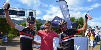 The ASG-Ellsworth team of HB Kruger (left) and Stuart Marais celebrate with Eldorette Carinus of La Couronne Wine Estate after winning the UCI Elite men's category in the Liberty TransCape MTB Encounter today. The 73km seventh and final stage of the 614km race started in Houwhoek and finished at La Couronne Wine Estate in Franschhoek.