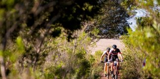 Race leaders HB Kruger (front) and Stuart Marais tackle a single-track section on the 74km sixth stage of the Liberty TransCape MTB Encounter from Greyton to Houwhoek today. The 614km seven-stage races finishes at La Couronne Wine Estate in Franschhoek tomorrow.
