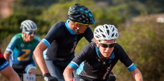 Mixed category leaders Catherine Williamson (front) and Kristof de Neys (just behind her) work hard on the 102km third stage of the Liberty TransCape MTB Encounter from Hartenbos to Riversdale today. The 614km seven-stage races finishes at La Couronne Wine Estate in Franschhoek on Saturday.