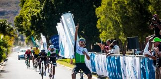 Italian Matteo Sobrero of the DiData Continental team celebrates his victory on the 134km fourth stage of the Bestmed Tour of Good Hope, presented by Scicon and the City of Drakenstein, which ended near Paarl in the Cape Winelands today. Photo: Robert Ward