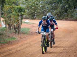 Stage winner Gert Heyns leads HB Kruger and Matt Beers on the 49km opening stage of the Liberty Winelands Encounter, presented by STANLIB, from Zorgvliet Wine Estate to Le Franschhoek Hotel in the Cape Winelands today. Photo: Robert Ward