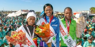 The podium finishers in the SPAR Women's 10km Challenge at Summerstrand in Port Elizabeth today were (from left) Glenrose Xaba (second), Kesa Molotsane (first) and Patience Murowe (third). Picture: Leon Hugo