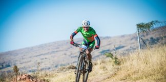 Seen here: Philimon Sebona in action during the 2017 FNB Magalies Monster MTB Classic. Photo Credit: Tobias Ginsberg