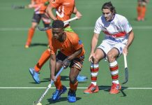 University of Johannesburg's Andile Ndlovu, challenged here by UP-Tuks player Bradley Sherwood, will be a key member of the squad when they defend their University Sport South Africa men's hockey title in Bloemfontein from July 2 to 6 Picture: Saspa