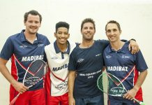 Madibaz players (from left) Johan Thiel, Gershwin Forbes, Brendan Basset and coach Jason le Roux have been hard at work preparing for the University Sport South Africa squash tournament in Port Elizabeth from July 1 to 7 Picture: Supplied