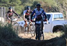HB Kruger (ASG-Cape Duo) leads the way on the final stage of the Liberty Waterberg MTB Encounter, presented by STANLIB, at the Sondela Nature Reserve in Bela-Bela today. Photo: Gerrie Kriel/Twin Productions SA