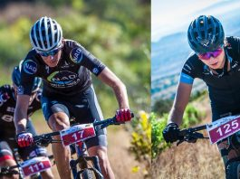 Seen here (left to right): Wessel Botha and Danielle Strydom in action at the 16th annual FNB Magalies Monster MTB Classic. Photo Credit: Tobias Ginsberg