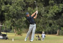 KPMG Madibaz player Altin van der Merwe, who won the University Sport South Africa individual strokeplay golf title, tees off at the par-three eighth hole during the tournament at Port Shepstone Country Club in KwaZulu-Natal last week. Picture: Karl du Preez