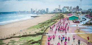 Seen here:  Runners and walkers enjoying the Totalsports Women's Race Durban route in 2017.  Photo Credit:  Tobias Ginsberg