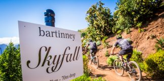 Seen here: Mountain bikers entering the much talked about Bartinney Skyfall section of the Origin Of Trails MTB Experience Route. Photo Credit: Tobias Ginsberg