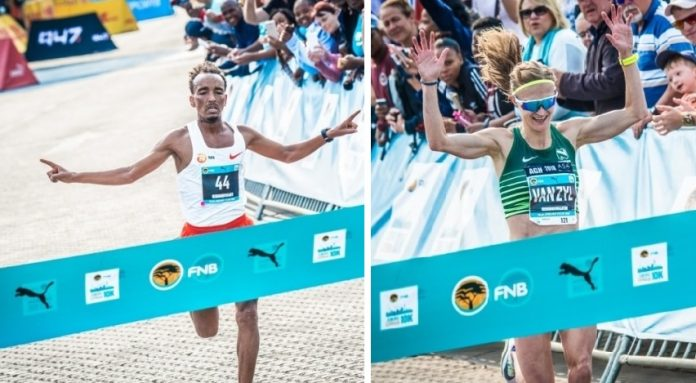 Seen here: Filmon Ande and Irvette van Zyl secured victory at the 3rd annual FNB Joburg 10K CITYRUN on Monday, 24 September 2018. Photo Credit:  Tobias Ginsberg