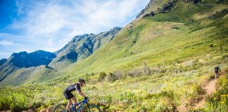 Seen here:  Mountain biking enthusiasts enjoying the spectacular Stellenbosch routes at the 2017 Origin Of Trails MTB Experience.  Photo Credit:  Tobias Ginsberg