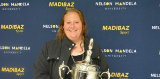 South African shot put and discus star Ischke Senekal was named Sportswoman of the Year at the Madibaz Sport gala awards evening in Port Elizabeth last week. Photo: Full Stop Communications
