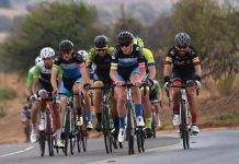 BCX rider Steven van Heerden (right), who won the race, forms part of the leading bunch in the Bestmed Satellite Classic 110km cycling road race near Hartbeespoort Dam in the North West Province today. Picture: Jetline Action Photograpy