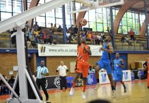University of Johannesburg's Lance Chikore (left) shoots for goal during their Varsity Basketball match against UCT at the Wits University Sports Hall in Johannesburg last weekend. The defender is Siphumle Qanya. Picture: Craig Nieuwenhuizen/SASPA