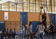 Nqosa Lehloenya, pictured here shooting a goal, will captain the UJ team during the Varsity Basketball tournament, which starts in Johannesburg today. Photo: Supplied