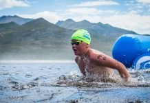 Seen here: Swimming enthusiasts enjoying the action of the 4th annual Sanlam Cape Mile brought to you by Sanlam Investments in 2018. Photo Credit: Tobias Ginsberg