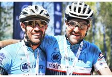 Rustenburg riders Justin van de Linde (left) and Albertus Jooste won the final 70km stage of the Liberty TransCape MTB Encounter from Grabouw to Franschhoek today to take the overall honours. The seven-stage mountain-bike race started in George on Sunday. Photo: Jacques Marais