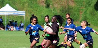 University of Johannesburg rugby sevens star Voice Ndou (middle) goes on a run during the women's sevens university tournament last year. Photo: Siphendulwe Nxasana
