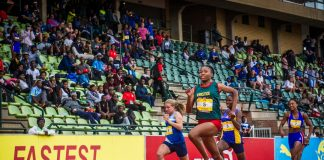 Seen here: Xeyi in action at the PUMA School of Speed #2 at the Ruimsig Athletics Stadium (Roodepoort) on Saturday, 02 February 2019 where she placed first in the Girls U19100m in a lightning fast time of 11.98 seconds. Photo Credit: Tobias Ginsberg