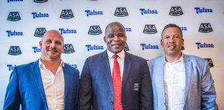 Seen here (from left to right): Ajee Valentine (Twizza National Sponsorship Manager), Aleck Skhosana (the President of Athletics South Africa) and Dezroy Poole (Director Stillwater Sports). Photo Credit: Tobias Ginsberg