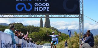 Marc Pritzen crosses the finish line at the Taal Monument near Paarl to win the 66.7km fifth and final stage of the Takealot Tour of Good Hope road cycle race in the Cape Winelands today. The result gave him the overall title as well. Photo: Full Stop Communications