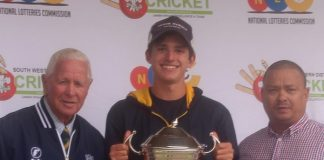Madibaz captain Travis Ackerman (middle) receives the Petersen Trophy as winners of the South Western Districts premier cricket league from SWD Cricket honorary life president Simon Swigelaar (left) and SWDC president Rudy Claassen. Photo: Supplied