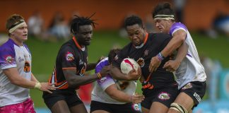 University of Johannesburg prop Stephen Bhasera is tackled during their clash against North-West University at the UJ Stadium in the Varsity Cup rugby competition earlier this year. Photo: Christiaan Kotze/SASPA